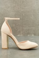 Laura Nude Suede Ankle Strap Heels 9