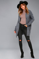 Harvest Home Heather Navy Blue Hooded Cardigan Sweater 1
