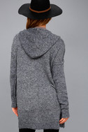 Harvest Home Heather Navy Blue Hooded Cardigan Sweater 3