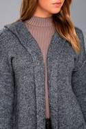 Harvest Home Heather Navy Blue Hooded Cardigan Sweater 4