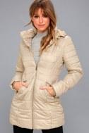 Stay Toasty Beige Hooded Midi Puffer Coat 6