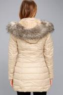 Stay Toasty Beige Hooded Midi Puffer Coat 4