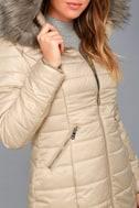 Stay Toasty Beige Hooded Midi Puffer Coat 5