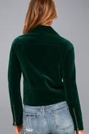 Style Icon Forest Green Velvet Moto Jacket 4