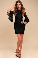 Allure 'Em In Black Lace Flounce Sleeve Dress 2