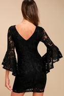 Allure 'Em In Black Lace Flounce Sleeve Dress 4