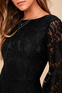 Allure 'Em In Black Lace Flounce Sleeve Dress 5