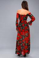 Final Rose Black Floral Print Off-the-Shoulder Maxi Dress 7
