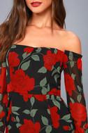 Final Rose Black Floral Print Off-the-Shoulder Maxi Dress 8