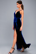 Best of Both Black and Royal Blue Maxi Wrap Dress 2