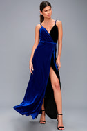 Best of Both Black and Royal Blue Maxi Wrap Dress 1