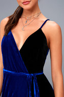 Best of Both Black and Royal Blue Maxi Wrap Dress 4