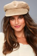 Two Steps Ahead Beige Suede Leather Baker Boy Cap 1