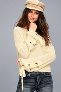 Flirt and Finesse Cream Lace-Up Sleeve Sweater 1