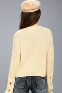 Flirt and Finesse Cream Lace-Up Sleeve Sweater 3
