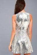 City Dreams Silver Sequin Sleeveless Skater Dress 7