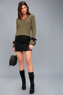Verses From The Heart Olive Green Bell Sleeve Knit Sweater 5