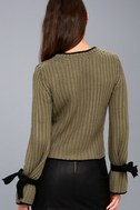 Verses From The Heart Olive Green Bell Sleeve Knit Sweater 7