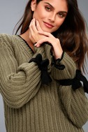 Verses From The Heart Olive Green Bell Sleeve Knit Sweater 8