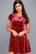 Nivea Wine Red Crushed Velvet Swing Dress 6