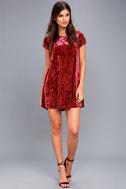 Nivea Wine Red Crushed Velvet Swing Dress 5