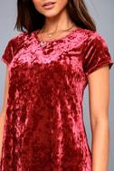 Nivea Wine Red Crushed Velvet Swing Dress 8