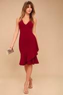 Modern Maiden Wine Red Midi Dress 2