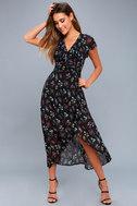 Act of Love Black Floral Print Midi Wrap Dress 5
