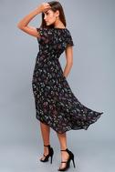 Act of Love Black Floral Print Midi Wrap Dress 6