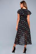 Act of Love Black Floral Print Midi Wrap Dress 7