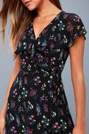 Act of Love Black Floral Print Midi Wrap Dress 8