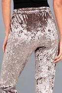 Light Beams Taupe Velvet Jogger Pants 8
