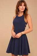 Call Back Navy Blue Backless Skater Dress 3