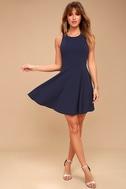 Call Back Navy Blue Backless Skater Dress 2