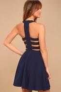 Call Back Navy Blue Backless Skater Dress 4