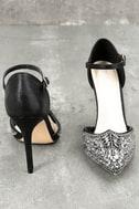 Adeline Black Rhinestone Ankle Strap Heels 3