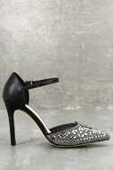 Adeline Black Rhinestone Ankle Strap Heels 2