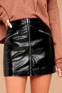 Calabria Black Patent Vegan Leather Mini Skirt 4