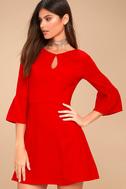 Cornelia Red Flounce Sleeve Dress 2