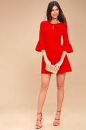 Cornelia Red Flounce Sleeve Dress 1