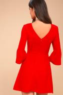 Cornelia Red Flounce Sleeve Dress 3