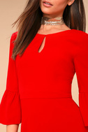 Cornelia Red Flounce Sleeve Dress 4