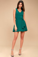Lucai Teal Green Knotted Skater Dress 2