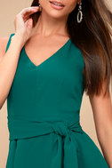 Lucai Teal Green Knotted Skater Dress 4