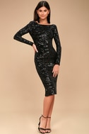 Emery Black Sequin Bodycon Midi Dress 2