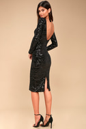 Emery Black Sequin Bodycon Midi Dress 1