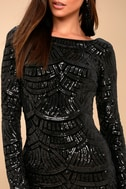 Emery Black Sequin Bodycon Midi Dress 4