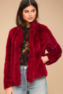 Marian Wine Red Faux Fur Jacket 2