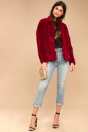 Marian Wine Red Faux Fur Jacket 1