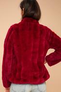Marian Wine Red Faux Fur Jacket 4